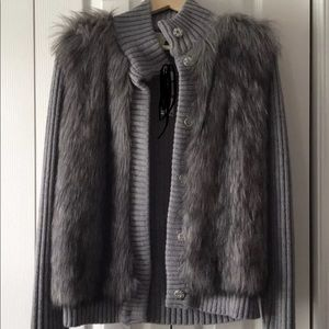 MK sweater with snap front and fur